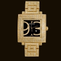 Quadrato Gold Dial2 Diamond Bracelet